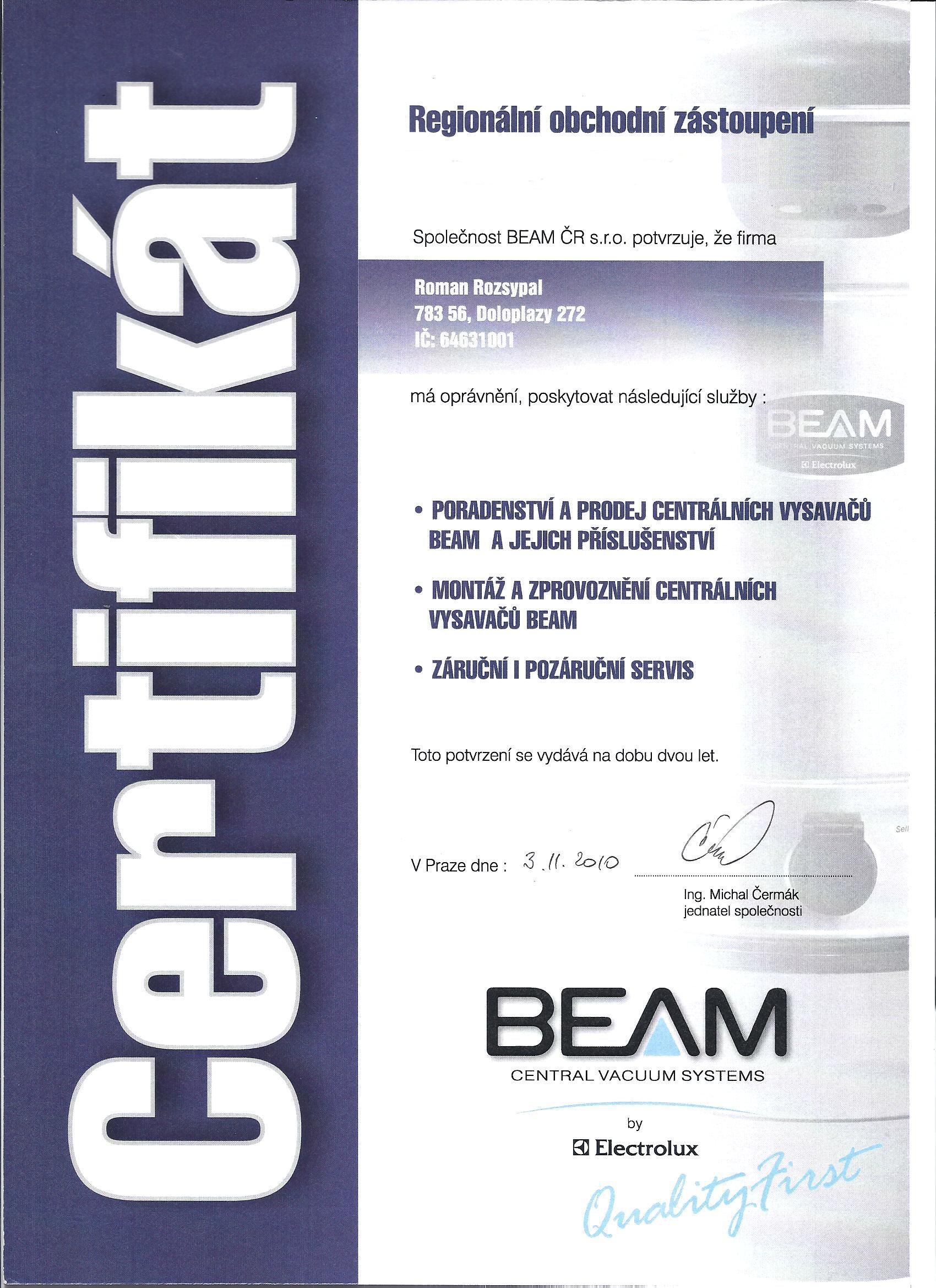 Certifikát 2010